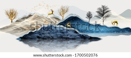 Abstract art decorative background. Yellow tree and deer on the mountain. Digital painting art.