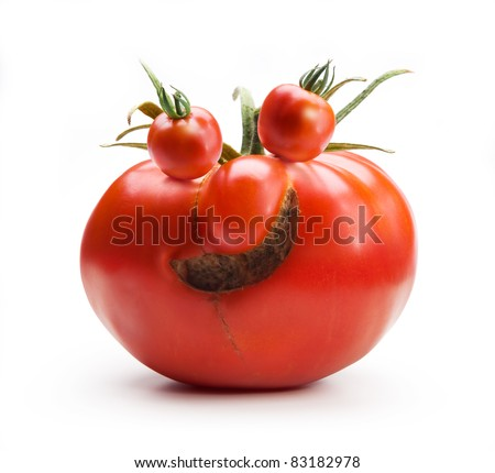 abstract Art funny Mr.Tomato isolated on white