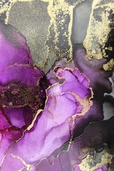 Abstract art in shades of black grey gold and translucent purple. Liquid shapes and flowing colors.