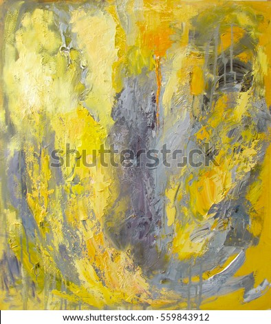 Abstract art in yellow and gray oil painting