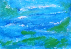 Abstract art landscape. Blue green Sea waves ocean sky pattern texture background. Pasty painting by acrylic or gouache. Modern contemporary painting art. Multicolor splotch effect.
