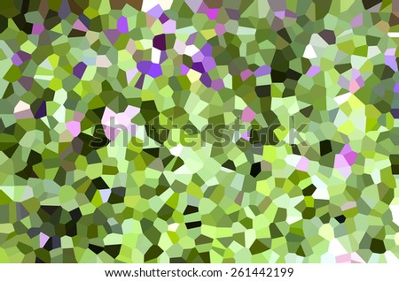 Abstract Art Natural Green and Violet Mosaic Flower and leaves Texture Background