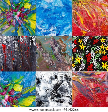 Abstract art . Painting collage
