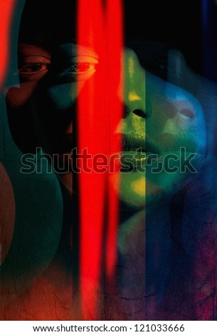 abstract art portrait women. Photo based illustration . Extreme texture and grain added.