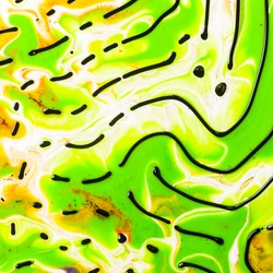 Abstract ART. Style incorporates swirl, artistic design with green oil colors or watercolour forming amazing intricate structures with ferrofluid