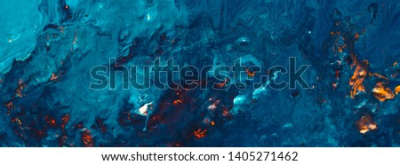 Abstract art texture background. Nnight forest fire design. Beautiful navy blue and orange paint splotch with motion effect.