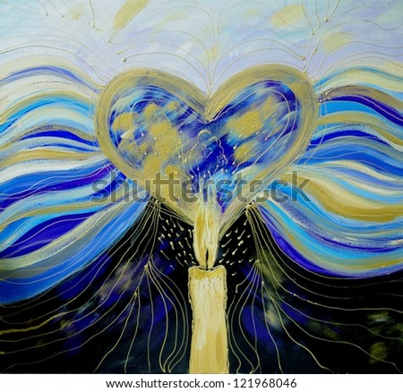 Abstract art with heart, candle and couple in love