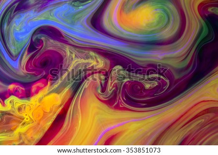 Abstract artistic background, a rich texture created with pigments and dyes. Colors under water create interesting organic shapes and symbols that reveal themselves when closely observing the image.