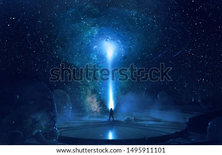 Abstract artistic digital paint of a galactic gate in the sky hitting a stand alone man.