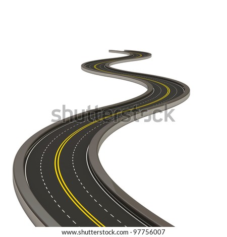 Abstract Asphalted Road isolated on white background
