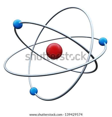 Abstract atom 3D render isolated on white background.