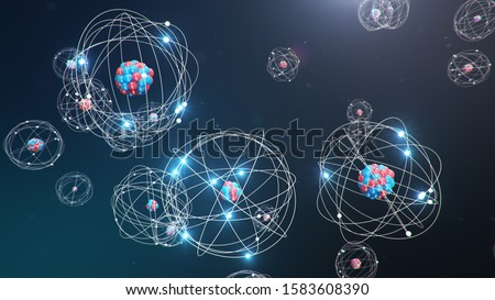 Abstract atom model. Atom is the smallest level of matter that forms chemical elements. Glowing energy balls. Nuclear reaction. Concept nanotechnology. Neutrons and protons - nucleus. 3D Illustration