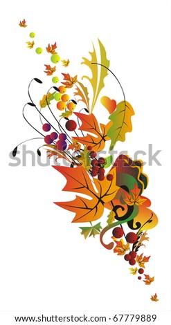 Abstract autumn border in orange and gold tones - stock photo