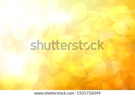 Abstract autumn gradient gold yellow pink bright background texture with leaves and sun lights. Indian summer. Card design with space. Beautiful backdrop.