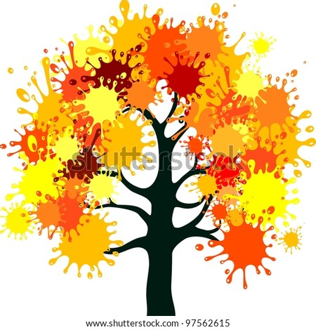 Abstract autumn tree isolated on White background. illustration