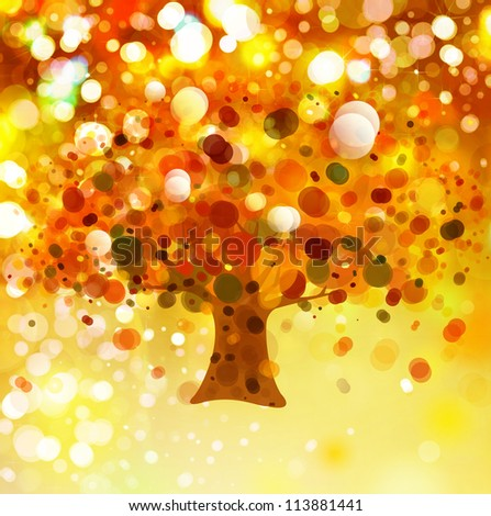 Abstract autumnal tree on lights background.