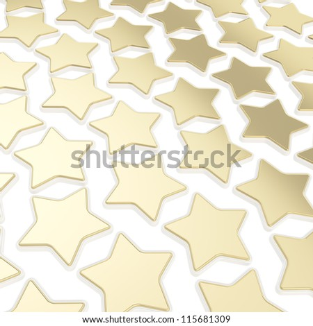 Abstract backdrop made of golden glossy stars over white background