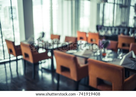 Abstract background and blur defocused Elegant and elegant dining room and beautiful interior details.Vintage Filter effect #741919408