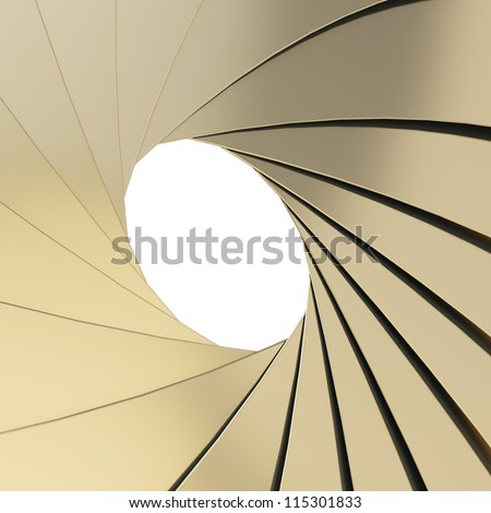 Abstract background as a golden shutter mechanism with an empty space in the center