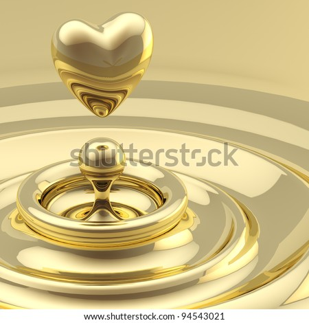 Abstract background as a liquid gold waves with a heart like drop in the center