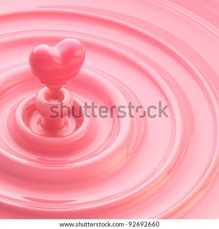 Abstract background as a pink cream glossy waves with a heart like drop in the center