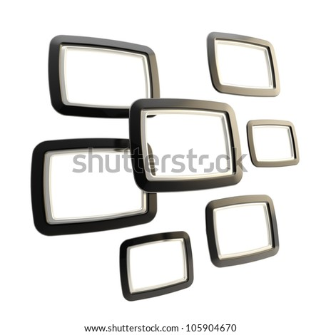 Abstract background as group of black empty copyspace glossy frames isolated on white