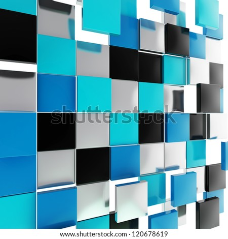 Abstract background backdrop made of glossy black, blue and chrome metal square plates