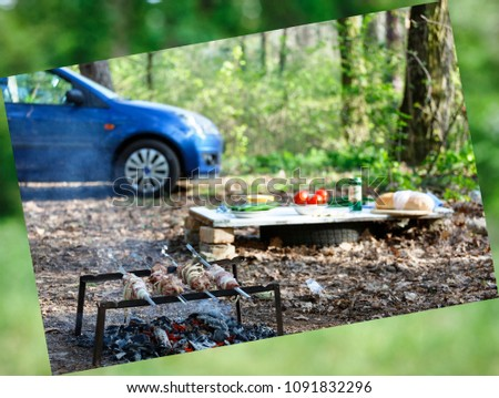 abstract background. Barbecue family. Concept of outdoor recreation by the family. On a background blurred car. camping. picnic in the forest