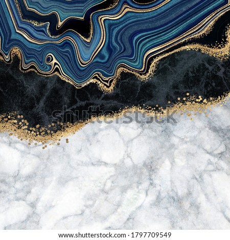 abstract background, blue agate with golden veins, white and black marble, fake painted artificial stone texture, marbled surface, digital marbling illustration