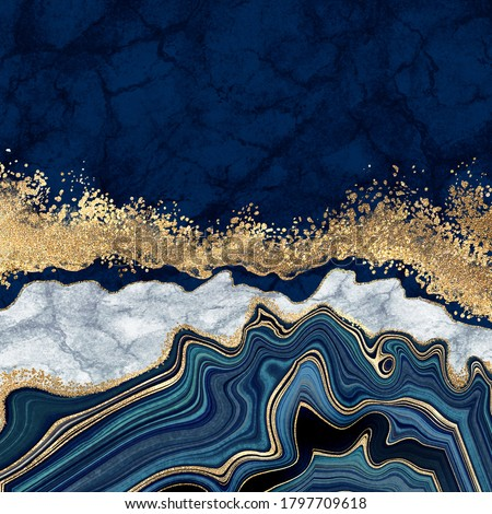 abstract background, blue agate with golden veins, white marble, fake painted artificial stone texture, marbled surface, digital marbling illustration