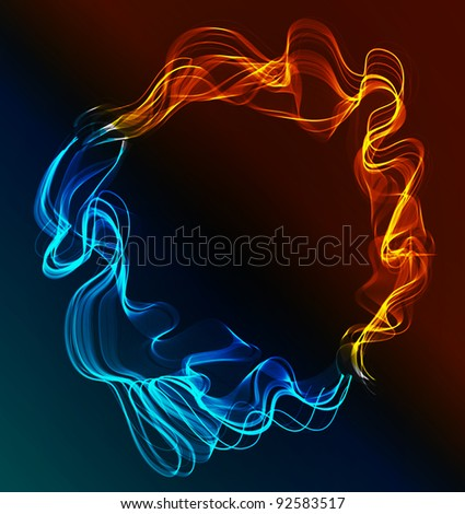 Abstract background blue and red, ice and fire over dark