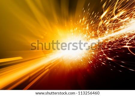 Abstract background - bright orange lights, flash, illumination