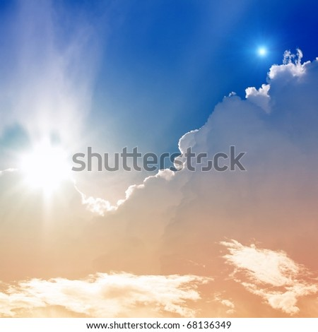 Abstract background - bright sun and star in sky