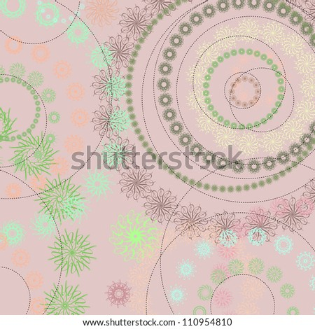 Abstract background: circles and dotted lines.