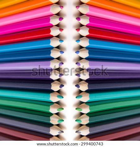 Abstract background, colored pencils, photography pencils, square picture, set of drawing, fine arts, background of colored pencils, bright picture, chaotic arrangement, multi-colored paint.