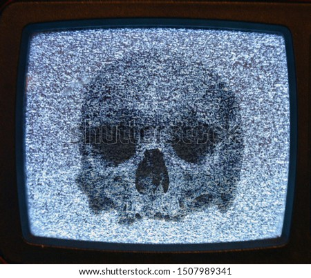 Abstract background. Concept No signal TV and skull