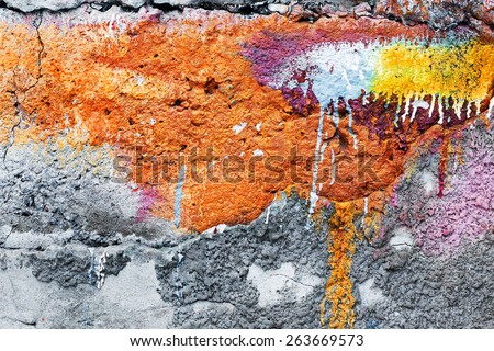 Abstract background concrete painted yellow and purple paint, weathered with cracks and scratches. Landscape style. Grungy Concrete Surface. Great background or texture.