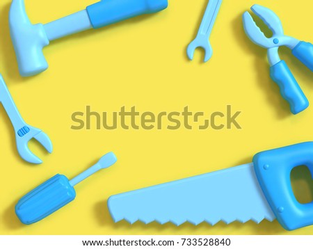abstract background,craft-technician-engineer tools concept blue object 3d rendering minimal yellow background