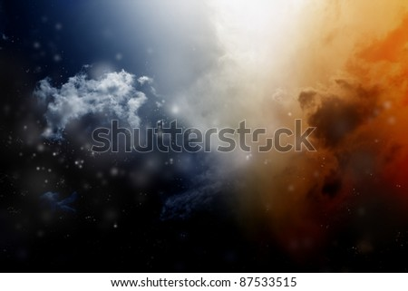 Abstract background - dark space with clouds and stars. Light from above.