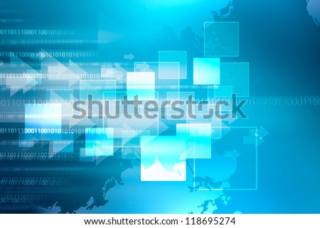 abstract background digital technology arrow button blue