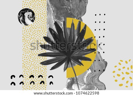 Abstract background: dynamic black golden brush stroke, minimal elements, tropical leaf. Acrylic smudge shape, doodles in modern style. Doodle, golden texture background. Hand painted art illustration