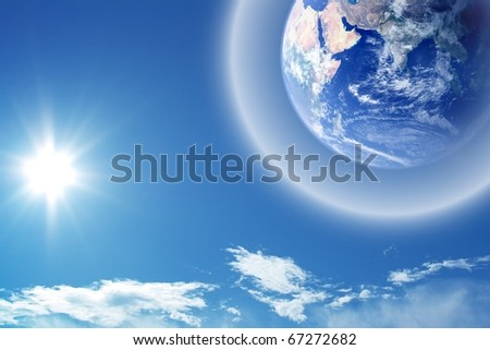 Abstract background - earth in space with protective shield
