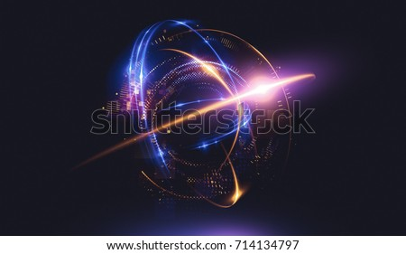 Abstract background. Elegant glowing circle. Light ring. Atoms and electrons. Sparking particle. Luxury streaks Colorful ellipse. Glint sphere. Bright border. Energy ball. Physics concept.