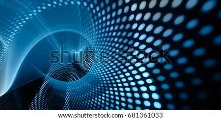 Abstract background element. Fractal graphics series. Three-dimensional composition of glowing lines and mosaic halftone effects. Wide format high resolution image. Blue and black colors.