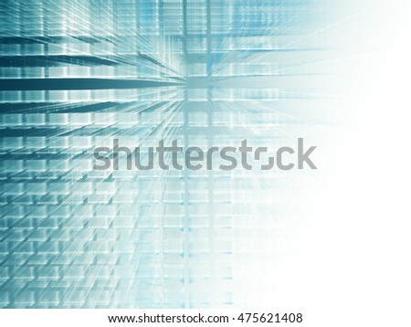 Abstract background element. Fractal graphics series. Three-dimensional composition of repeating transparent shapes. Information technology concept. Blue and white colors.