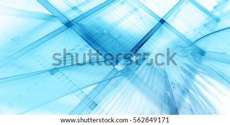 Abstract background element. Three-dimensional composition of curves and grids. Information technology concept. Wide format