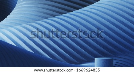 Abstract background for branding and minimal presentation.Blue podium on folding fabric pleated geometric background. 3d rendering illustration. ストックフォト ©