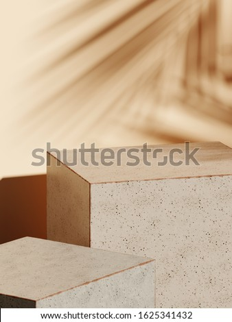 Abstract background for branding and minimal presentation. Cosmetic bottle on earth tone color ceramic geometry stage with shadow of leaf. 3d rendering illustration.