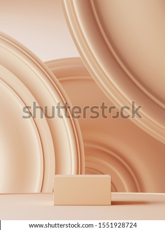 Abstract background for branding, identity and packaging presentation. Podium and beige circular molding background. 3d rendering illustration.