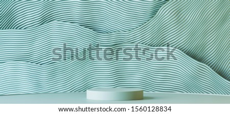 Abstract background for branding, identity and packaging presentation. Podium and green and white wavy stripes background. 3d rendering illustration.